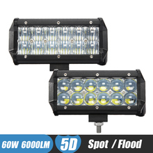 60W 5D Lens LED Light Bar offroad Work Light Car Bumper LED SUV ATV 4X4 Camper Trailer Tractor Truck Driving Headlight Fog Lamp(China)