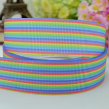 "DUWES 7/8""22mm Rainbow Stripes Printed grosgrain ribbon,hairbow DIY handmade clothing materials 50yards OEM(China)"