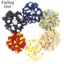 Furling Girl 1PC Smiley Face Fabric Hair Scrunchy Ponytail Holder Hair ties Gum Hair Bands(China)