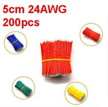 Free shipping! 200pcs/pack 5cm jumper wire cable,24AWG color wire, antioxidant Tin Plated Copper Wire ,easy to welding(China)