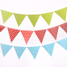 2m handmade Polka Dot Blue Pink Party Bunting Flags/Banners/Pennants Outdoor party Decoration 1 set including 10 small flags(China)