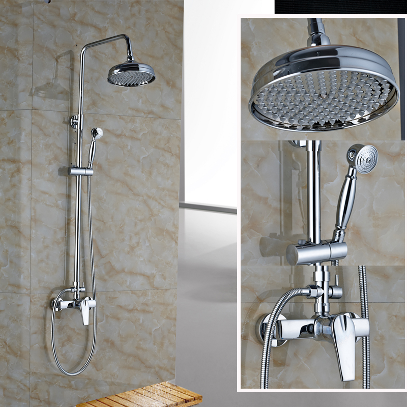 Chrome Finished Bathroom Shower Set faucet Single Handle with Hot and Cold Water Shower Complete Mixer Taps<br><br>Aliexpress