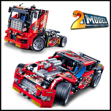 Factory Price 608Pcs Building Blocks Toy Race Truck Car DIY Assemble Figure Educational Brick Brinquedos For Kids+With Gift