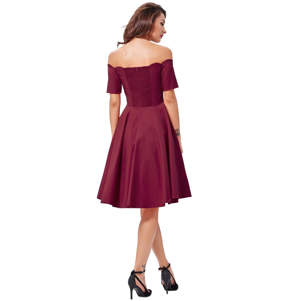 Belle Poque 17 Women Dress Robe Vintage Off Shoulder Black Summer Dress Jurken 1950s 60s Retro Rockabilly Swing Party Dresses 29