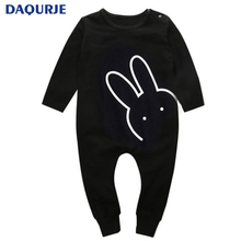 Christmas Baby 2017 Autumn Newborn Baby Clothes Rabbit Long Sleeve Baby Boy Girl Clothes Black Rompers Body Clothes Newborn