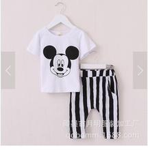 2017 summer new children's suit short sleeve suit cartoon logo + shorts Korean children's clothing free shipping