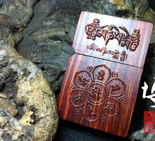 High quality solid wood carving kerosene lighter wood shell Six words Nepal lobular red sandalwood