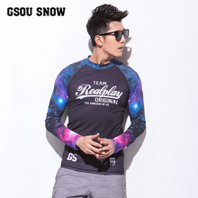 GS Rashguard Mens Long Sleeve Surfing Rashguard Diving Surf UV Shirt Swimwear Rash Guard Athletic Tops Quick Drying(China)