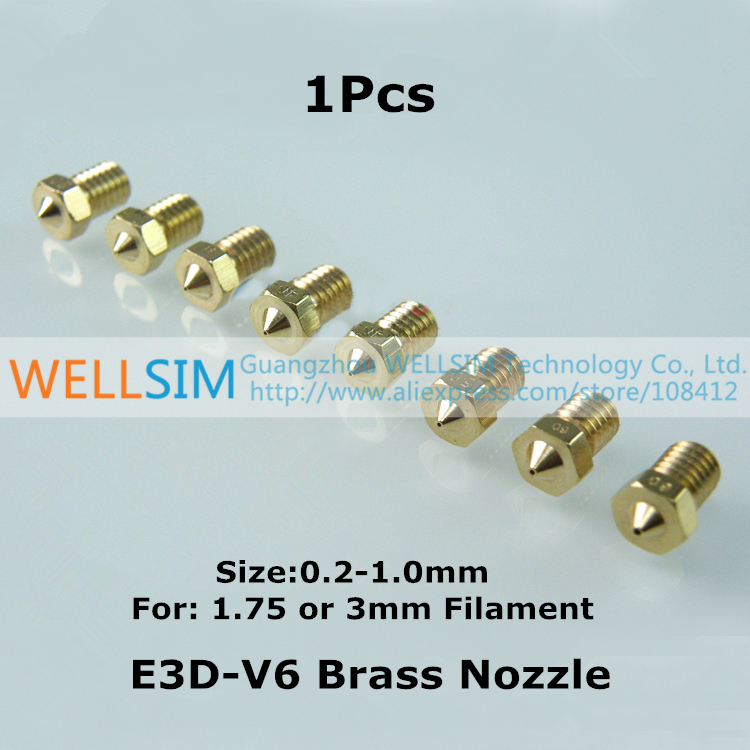 1Pcs E3DV6 Brass Nozzle 0.2 - 1.0 mm For 1.75mm 3mm Filament E3D V6 Copper Nozzle Extruder Print Head For 3 D Printer<br><br>Aliexpress