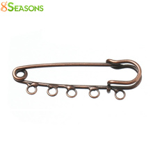 8SEASONS Safety Pins Brooches Antique Copper 5 Holes 5cm x 1.6cm, 20PCs (B33861)(China)