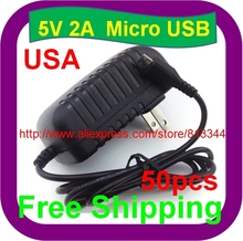 50 pcs Free Shipping 5V 2A Micro USB For HP TouchPad Tablet Premium Wall Home House AC Charger Adapter Micro USB PSU DC Adapter