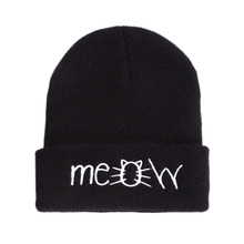 MEOW Cap Winter Casual Hip Hop Hats Knitted Wool Skullies Beanie Warm Hat for Women Drop Shipping Black/gray/red/navy