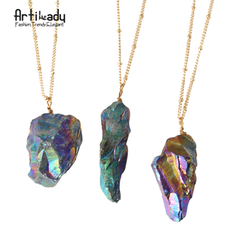 Artilady natural stone pendant necklace europe gold plated multicolor stone necklace for women jewelry party