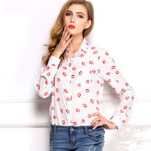 2015 New White Stand Collar Button Red lip Print chiffon Blouse&Shirt lady fashion Long Sleeve blouse