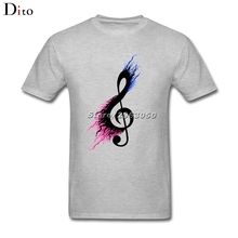 Split Music Note T Shirt For Men Plain Custom Short Sleeve Boyfriend's Big Size Group  T Shirt