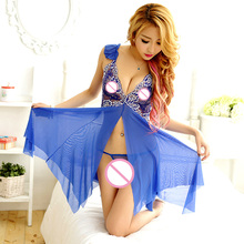 High Quality Blue Butterfly Long dress Costume Sexy Underwear Soft babydoll Night Gown Nightwear Pajamas Sleepwear Lingerie 9178