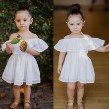 Toddler Kids Baby Off Shoulder tunic dress white summer kids girl dresses Casual Party wedding chidlren girl sundress(China)