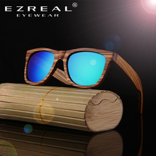 EZREAL Polarized Zebra Wood Sunglasses Men Women Hand Made Vintage Wooden Frame Male Driving Sun Glasses Shades Gafas With Box(China)
