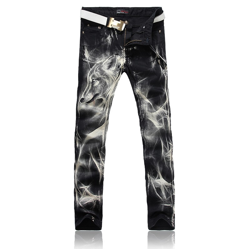 Mens fashion wolf print stretch denim jeans Slim black painted straight pants Long trousers western design QB887Îäåæäà è àêñåññóàðû<br><br>