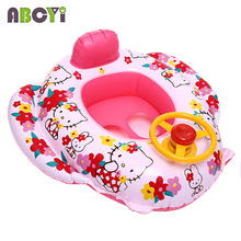 8 Styles! Cute Hello Kitty Baby Swimming Laps Kids Swimming Rings Thicken Swim Trainer Seat Inflatable Baby Boat with Speaker