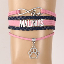 Drop Shipping Infinity Love Malinois Bracelet Bangles Pink with navy Leather Braided Dog Breed Paw Charm Puppy lovers Gift