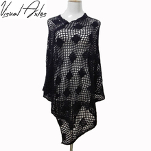 [Visual Axles] 7 Colors 2017 Spring Girl Dress Luxury White Crochet Poncho Women Fashion Scarf Shawl Poncho