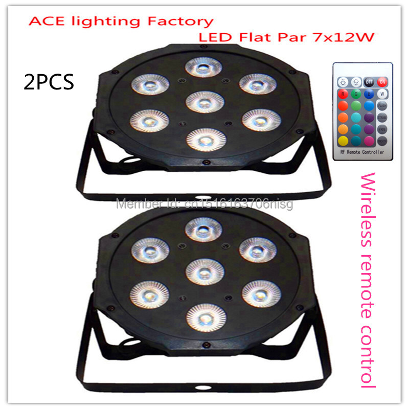 2 pieces Promotional Packaging Wireless remote control LED Par 7x12W RGBW 4IN1 DMX Stage Light Uplighting<br>