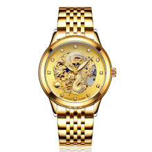 LAOGESHI Luxury Dragon & phoenix lovers men watch women hollow luminous engraving automatic mechanical watches gold clock gift