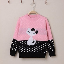 HSSCZL 2016 New Winter Cashmere Girls Sweater Sweaters For Girl Child Thickened Kitty Sweater Trade Pink Freeshipping