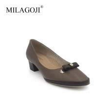 MILAGOJI 100% Genuine Leather Wedges Round Head Brown High Heels For Women Natural Cowhide Soft Pumps Bowtie Casual Shoes 2017(China)