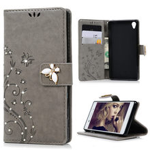 For Sony Xperia Z3 Cover Diamond Leather Flip Stand Wallet Case Cover Luxury 3D Emboss Butterfly Flower Capa Funda For Xperia Z3
