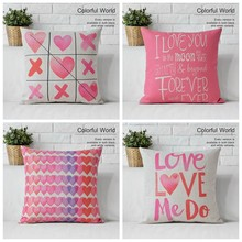 New Valentine Gift Pink loving heart Cotton Linen Cushion Cover Decorative Sofa Throw Pillow Car Chair Home Decor Pillow Case(China)