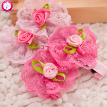 10pcs/lot Rose Lace Flower Dog Puppy Hairpin 5*4.5cm Pet Hair Clip Grooming