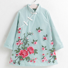 DZIECKO Chinese Style Cheongsam Girls Dresses 2017 Autumn Long Sleeves Flowers Print Girls Clothes Children Clothing Dresses