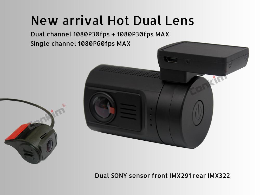 Conkim Dual Lens Car Dash Camera GPS DVR Front 1080P FHD+Rear Camera 1080P FHD Parking Guard Motion Detect Mini 0906 Novatek Cam 3