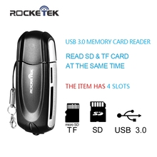 Rocketek same time read 2 cards high speed 4 Slots USB 3.0 Memory Card Reader adapter for SD, TF, Micro SD ,MMC T-flash Cards(China)