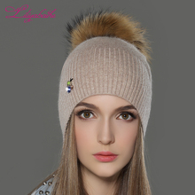 LILIYABAIHE Women Autumn And Winter Hat angora Knitted Beanies Cap Real Raccoon Fur Pom Pom Hats Beetle decoration