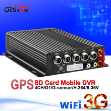 DHL Free Shipping H.264 4CH SD Card Mobile Dvr Realtime MDVR With Gps Wifi 3G Car Security Surveillance System Monitoring Dvr