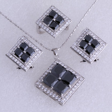 Classic Black Imitation Onyx Cubic Zirconia 925 Stamped Silver Color Necklace/Pendant/Clip Earrings/Rings Jewelry Sets SH0086
