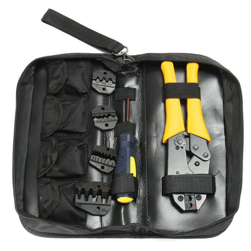 Insulated Terminals Ferrules Crimping Carbon Pliers Ratcheting Crimper Tool+5 Interchangeable Tips+Screwdriver+Black Storage Bag<br>