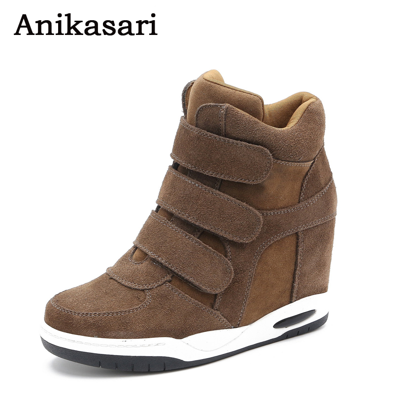 Womens Boots Genuine Leather Height Increasing Platform Wedges Ankle Boots Women Trainers High Top Sneakers Casual Shoes Woman<br>