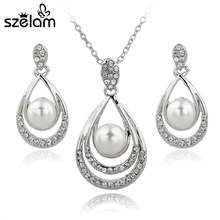 2016 Teardrop Necklace Earring Set Gold/Silver Plated Simulated Pearl Jewellery Set For Women Wedding Crystal Jewelry SET140029