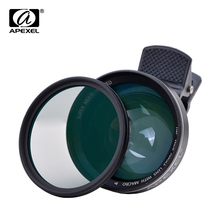 APEXEL Lens 2 in 1 0.63X Wide Angle Lens with Clip 37mm Thread 12.5X Macro High Definition Mobile Phone Lens for IOS Android 63W