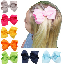 1PCS Solid Hair Hand Weaving Bows Christmas Girls 20 colors Solid Grosgrain Ribbon Hair Bow Kids Boutuique Hair Accessories 2017