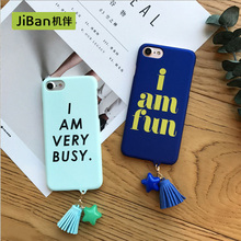 JiBan Personality Fashion Letter Case For iphone7 7Plus Tassel Star Frosted Hard Shell Rotection Sets For iphone 6 6S Plus cases