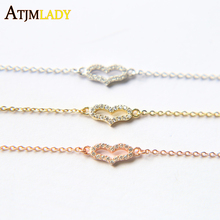 2017 Limited Rushed Charm Bracelets Snake Chain Women 100% 925 Sterling Chain Simple Girl Jewelry Cute Tiny Cz Heart Bracelet