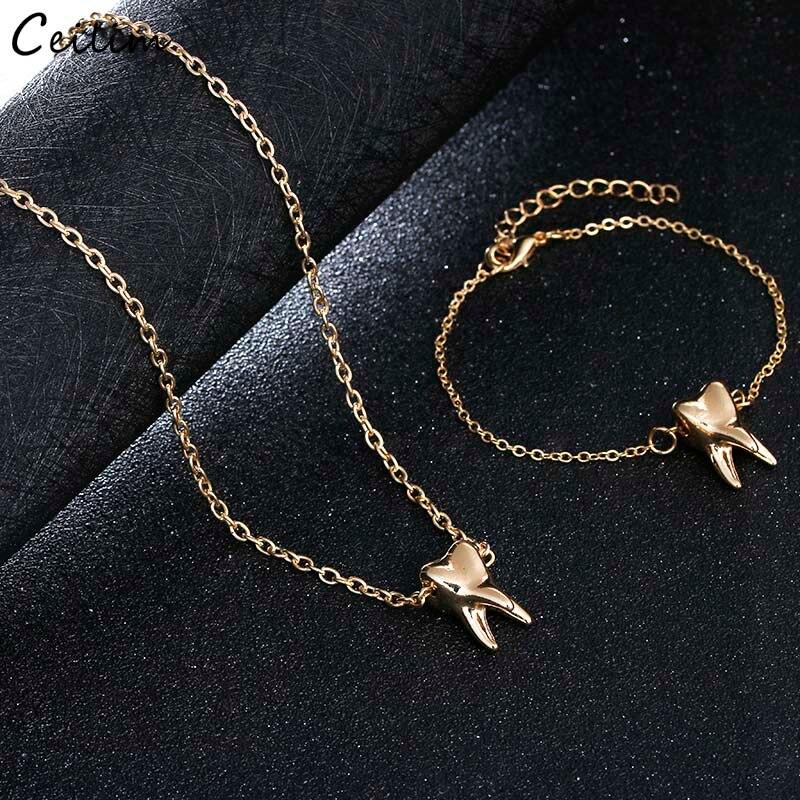 Креативный дизайн золото Цвет зуб кулон Цепочки и ожерелья для Для женщин мода металлические цепи Цепочки и ожерелья ювелирные изделия кол...
