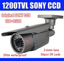 Original Sony CCTV Camera 1200TVL Outdoor SONY CCD Bullet Camera With 3.6mm Lens, 36pcs IR Leds Security Waterproof Camera