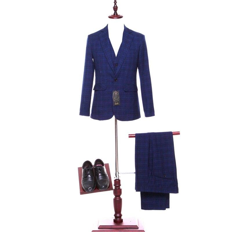 29-1  169   New dark blue plaid lapel men's groomsmen dress and men's evening dress and business suit (jacket + pants + vest) custom made