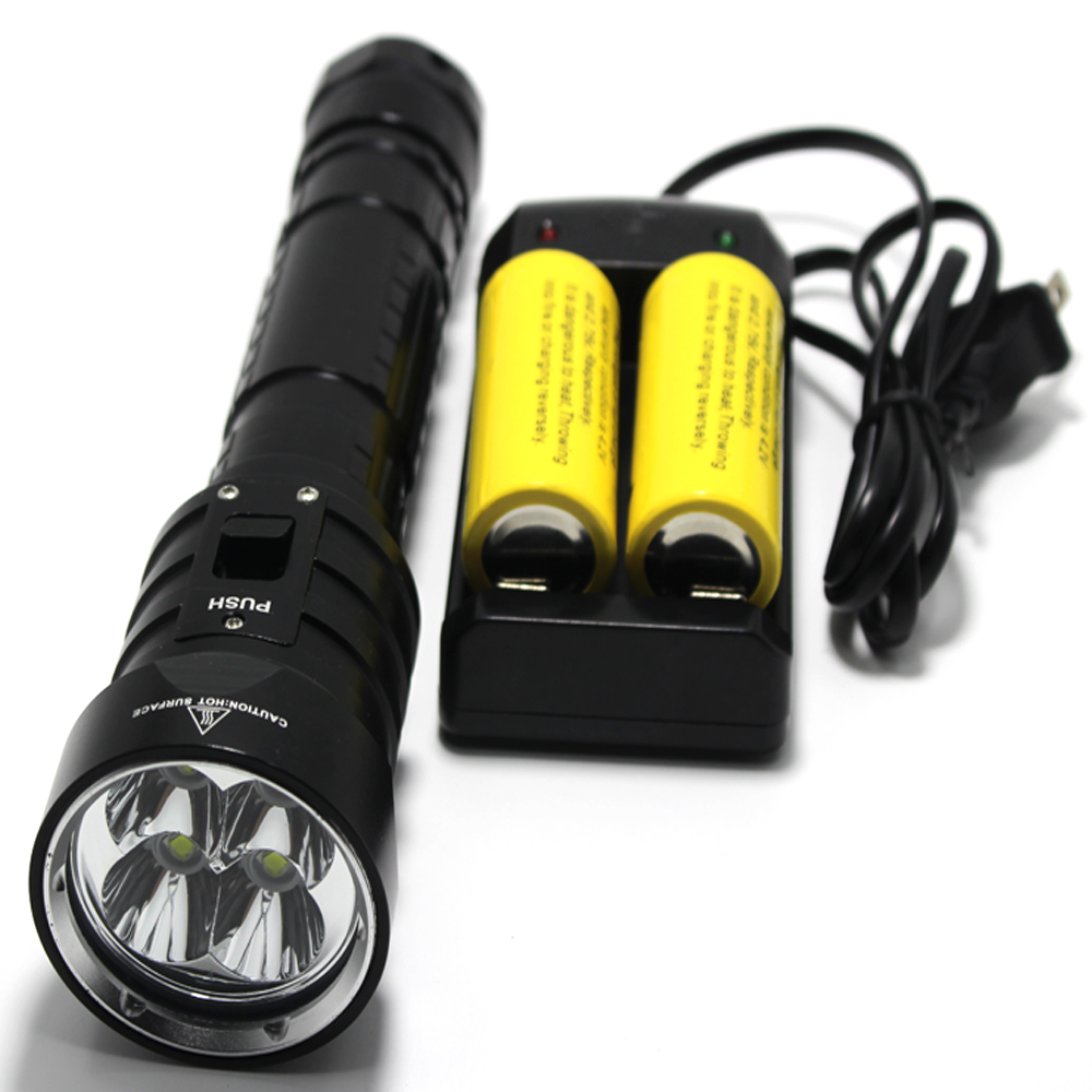 Underwater LED Diving Flashlight 4x CREE L2 4L2 Underwater 18650 26650 Torch Brightness Waterproof 100m Light Led Torch camping<br>